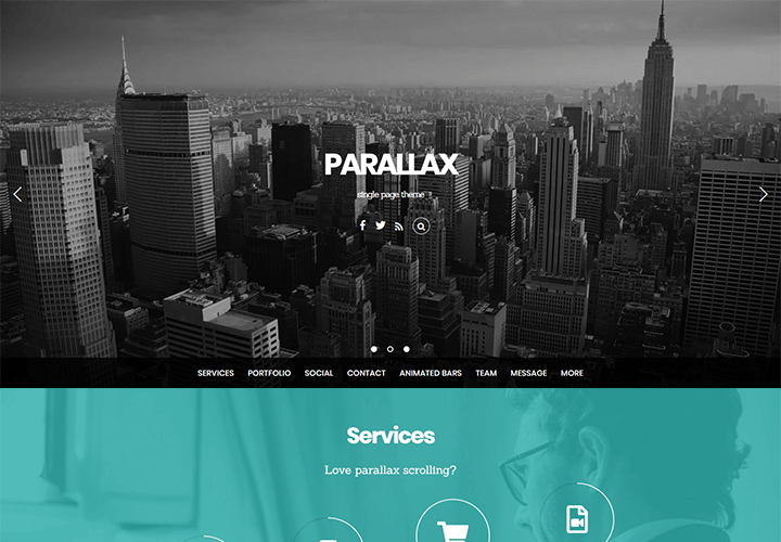 Premium Parallax WordPress theme